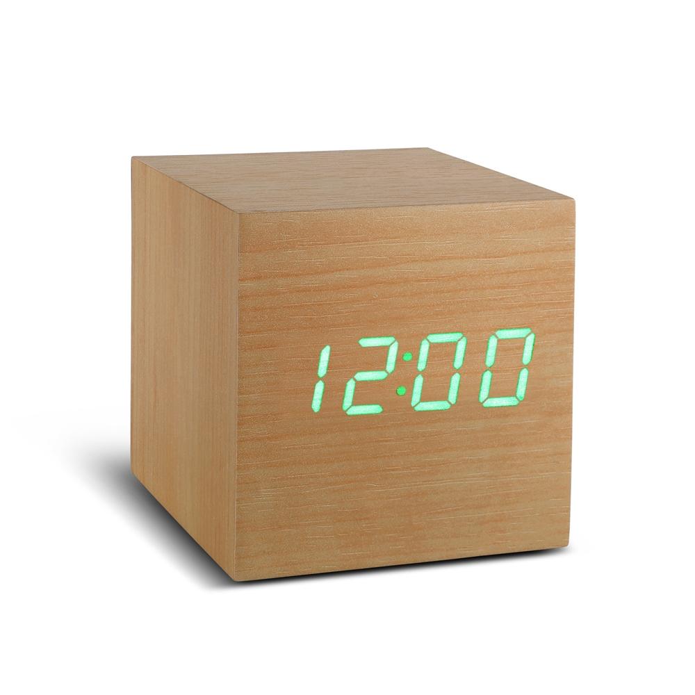 reveil cube gingko gk08 ecologique bois led hetre. Black Bedroom Furniture Sets. Home Design Ideas