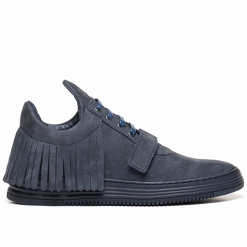 Sneakers, Filling Pieces - Low Top - Cuir Nubuck - Frangé -
