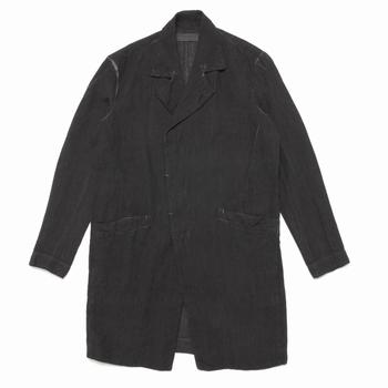 Trench-coat en lin - Teint et lavé à la main - Boutonnage