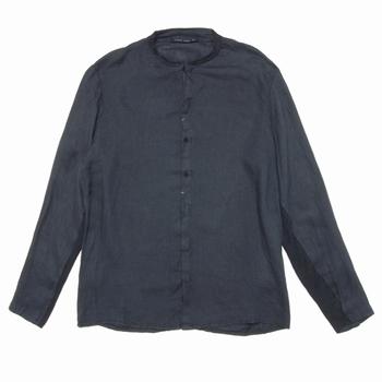 Chemise à col mao en lin - Regular fit - Manche en jersey de