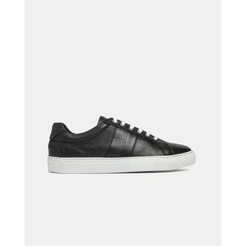 Sneakers basses en cuir grainé noir, bande en cuir grainé