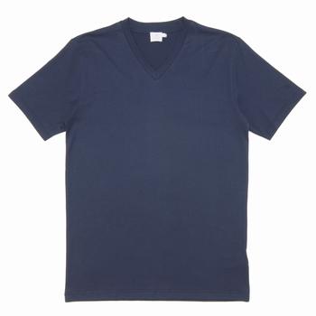 Tee-shirt col V en coton épais - Regular fit - Col côtelé -