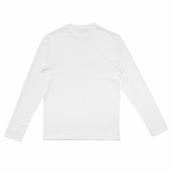 Tee-shirt à manches longues en coton - Col côtelé - Poche