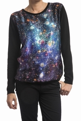 Pull bi matiere imprime, manches longues. Col rond. 42%