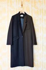 Manteau drap de laine, bicolore, manches longues et col