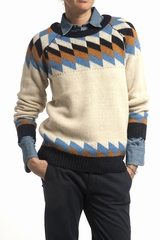 Pull Jacquard Le Mont Saint Michel. Pull jacquard. Col rond.
