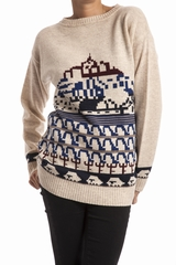 Pull jacquard Le Mont Saint Michel. Pull col rond. Manches