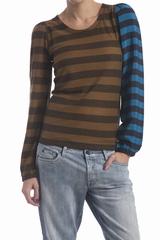 Le tee-shirt rayé bimatière Sonia By Sonia Rykiel est un top