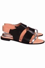 Sandale laniere argent, CEDRIC CHARLIER. Sandale en cuir