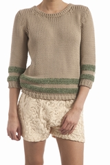 Pull maille, manches longues. Col rond. 58% coton, 38%