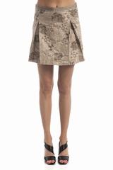 Jupe plis imprime fleurs, zip cote. 70% polyester, 30%