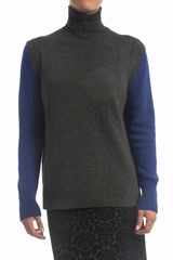 Pull col roule, bicolore, manches longues. 8% cachemire, 47%
