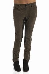 Pantalon cuir, bicolore. 4 poches et des passants pour la