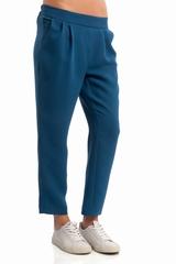Pantalon plis Steeve Toupy, 2 poches. Taille elastique au