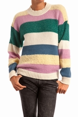Pull rayures, col rond, manches longues. 35% SM, 30% WO, 19%