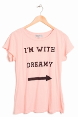 Tees Wildfox I'm with dreamy souple, imprimé texte, col rond