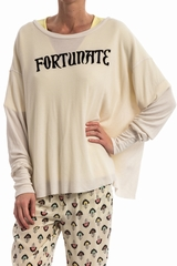 Top Fortunate WILDFOX, Top ample col rond 50% rayon, 50%
