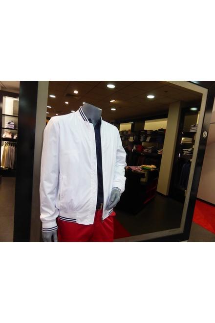 Blouson bord côte rayé : base, poignets et col 2 poches côté