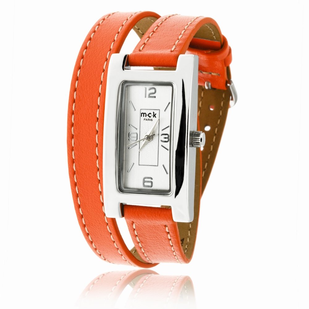 bracelet de montre en cuir orange. Black Bedroom Furniture Sets. Home Design Ideas