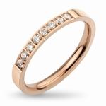 Bague anneau fin en acier 316L, finition couleur or rose