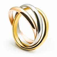 bague 3 anneaux en acier, modèle intemporel entrelacés 3