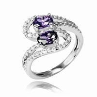 Bague de type toi et moi pierres zirconium violet et blanc