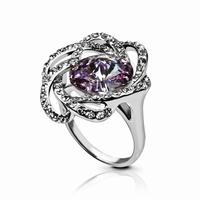 Bague cristal rond parme taille diamant diamètre 12 mm