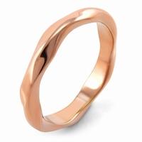 Bague anneau acier Couleur or rose et de forme ondulée