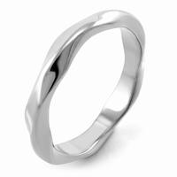 Bague anneau acier argentée forme ondulee Epaisseur anneau 3