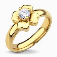 Bague fleur couleur or jaune Cristal griffé au coeur de la
