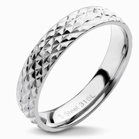 Bague anneau en acier effet matelassé Largeur anneau 4 mm