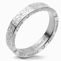 Bague anneau total acier cisele Inscription forever love sur
