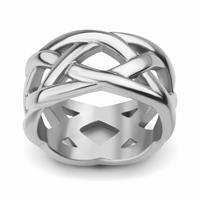 Bague anneau ajouré en acier 316L Largeur anneau 1 cm