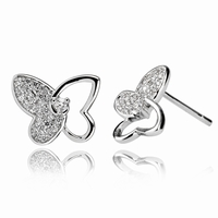 Boucles d'oreilles papillons en argent 925 pierres cz grade
