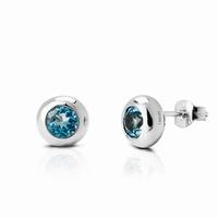 Boucles d'oreilles rondes en argent, pierre véritable :