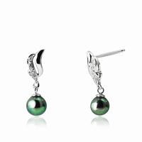 Boucles d'oreilles pendantes en argent 925, perle naturelle
