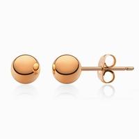 Boucles d'oreilles sphères acier couleur or rose Diamètre 7