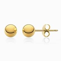 Boucles d'oreilles sphères acier couleur or jaune
