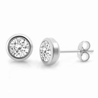 Boucles d'oreilles type solitaire, acier Zirconium central