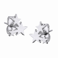 Boucles d'oreilles etoiles en acier 316L Dimensions 8 mm x 8