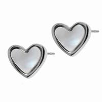 Boucles d'oreilles coeur nacré en acier 316L Dimensions 0.9