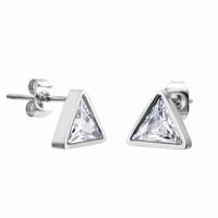 Boucles d'oreilles triangles en acier 316L Zirconium taille