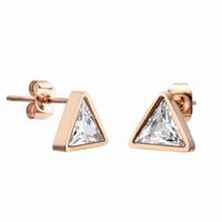 Boucles d'oreilles triangles en acier 316L, finition couleur