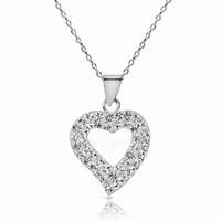 chaine et motif coeur en argent 925 strass sertis sur