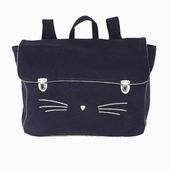 Matière: Canvas Cartable motif chat Disponible en marine et