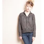 Matière: Coton Col chemise Rayures verticale en lurex argent