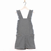 Material: Cotton Flounced overall 2 pockets on the front 2