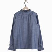 Matière : coton Blouse en chambray Fermetures boutonnés le