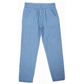 Pantalon chambray 2 poches à l'avant et à l'arrière, taille