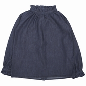 Matière: Coton Blouse en chambray Col montant avec des